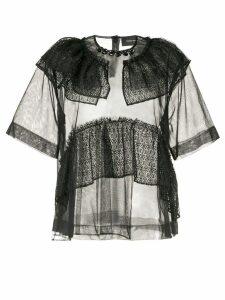 Simone Rocha lace-trimmed tulle blouse - Black