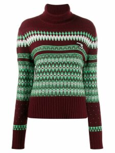 System patterned knit roll neck jumper - Red