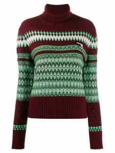 System patterned knit roll neck jumper - Red