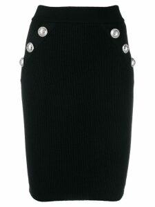 Balmain ribbed knit fitted skirt - Black