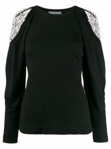 Alberta Ferretti lace-detail sweater - Black