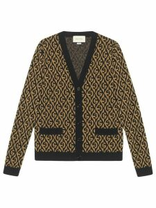 Gucci G rhombus lamé jacquard cardigan - Black