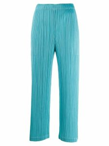 Pleats Please Issey Miyake cropped pull-on trousers - Blue