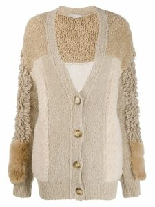 Stella McCartney patchwork oversized cardigan - NEUTRALS