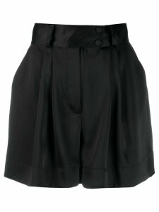Styland pleated wide-leg shorts - Black