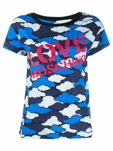Love Moschino cloud-print logo t-shirt - Blue