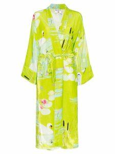 Bernadette swan print belted kimono - Green
