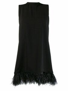 P.A.R.O.S.H. feather-embellished hem dress - Black