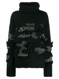 McQ Alexander McQueen patchy knit turtleneck jumper - Black