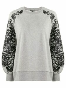 Ann Demeulemeester floral embroidered sleeve sweatshirt - Grey