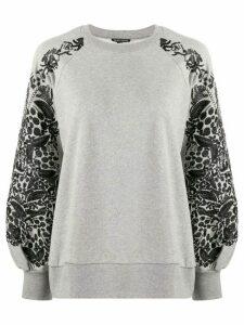 Ann Demeulemeester floral embroidered sleeve sweatshirt - Grey