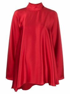 Styland high-neck draped dress - Red