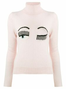 Chiara Ferragni knitted winking eye jumper - PINK