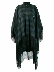 R13 plaid shirt poncho - Blue
