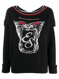 Ermanno Scervino logo embroidered sweatshirt - Black