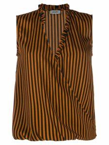 LIU JO striped wrap-front vest - ORANGE