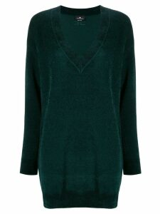 Elisabetta Franchi long-line v-neck jumper - Green