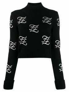 Fendi FF Karligraphy cropped jumper - Black