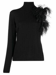 P.A.R.O.S.H. feather embellished asymmetric jumper - Black