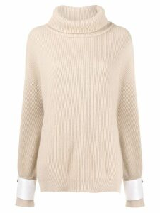 Brunello Cucinelli oversized roll neck sweater - Neutrals