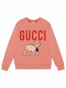 Gucci oversized lamb print sweatshirt - PINK
