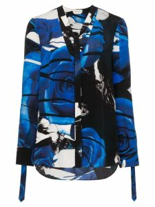Alexander McQueen abstract rose print blouse - Blue