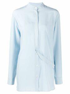 Jil Sander longline mandarin collar shirt - Blue