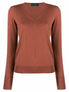Roberto Collina slim-fit V-neck pullover - Brown