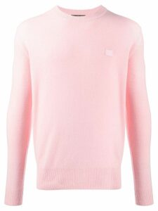 Acne Studios face patch crew neck jumper - PINK