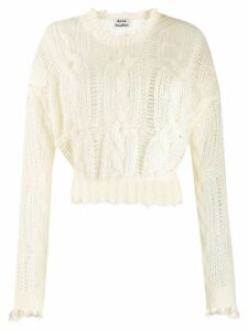Acne Studios frayed cable knit jumper - White