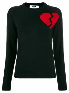 MSGM broken heart motif jumper - Black