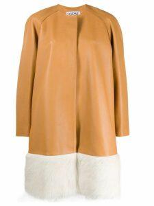 Loewe oversized fur-trimmed coat - Neutrals