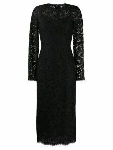 Dolce & Gabbana floral lace midi dress - Black