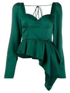 Self-Portrait asymmetric bustier top - Green