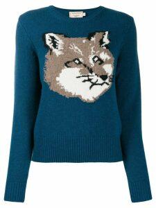 Maison Kitsuné knitted fox jumper - Blue