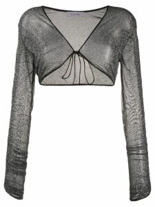 Oséree metallic gathered-sleeve shrug - Grey