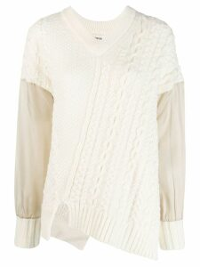 Zucca asymmetric cable knit jumper - White