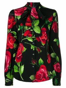 Dolce & Gabbana rose print charmeuse shirt - Black
