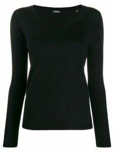 Aspesi fine knit v-neck jumper - Black