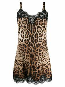 Dolce & Gabbana leopard print stretch camisole - Brown