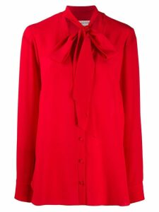 Alexander McQueen pussybow neckline blouse - Red