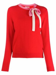 Chinti and Parker bow detail jumper - Red