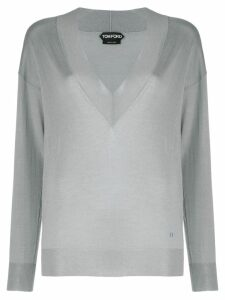 Tom Ford V-neck knitted sweater - Grey
