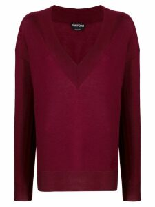 Tom Ford V-neck knitted sweater - Red