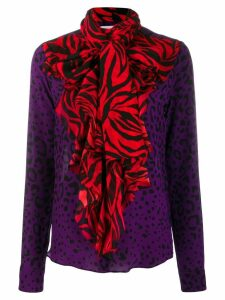 Faith Connexion contrast animal print blouse - PURPLE