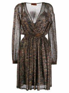 Missoni sequin embellished flared dress - ORANGE
