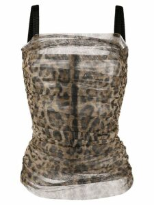 Dolce & Gabbana animal print ruched blouse - Brown