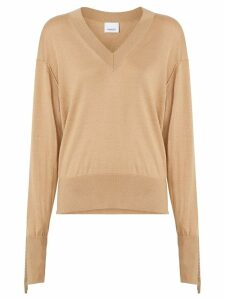 Burberry Logo Detail Merino Wool Silk Sweater - Neutrals