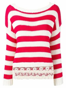 Ermanno Ermanno lace trim striped sweater - Red