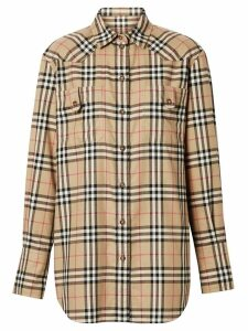 Burberry Vintage Check Flannel Oversized Shirt - NEUTRALS